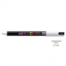 Marcador Uniball Posca PC1MR 0,7mm Branco-1un O Posca de ponta calibrada extra-fina para os profissionais criativos fazerem desenhos técnicos e esboços.Os amantes de trabalhos manuais executarem trabalhos de scrapbooking.
