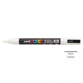 MMarcador Uniball Posca PC3M 0,9mm Branco -1un.O Posca de ponta fina é adequado  para trabalhos manuais, pintura de texteis e outros objectos
