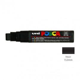 Marcador Uniball Posca PC17K 15,0mm Preto – 1un. O Posca de ponta extra-larga é adequado para os artistas pintarem fundos impecáveis em telas de grande formato ou em qualquer outras superficies ampla.