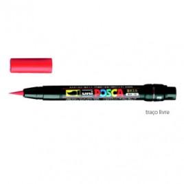 Marcador Uniball Posca PCF350 Livre Vermelho – 1un. O POSCA pincel é utilizado para aplicação de cores em esculturas, moldagens, e em superfícies  de acesso difícil, para banda desenhada e caligrafia.