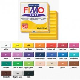 Pasta de modelar FIMO Soft Preto 56grs, 55X55X15mm, Dividido em 8 parcelas, Lisa e Macia, Facil de Misturar, Pronta para Usar, Cor Vibrante