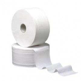 Papel Higienico (Jumbo/Industrial) Cleanspot (Pasta Virgem) 2Fls 300Mts Tubo 60mm (Pack 9)