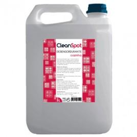 Desengourdurante para cozinha Cleanspot (5 Litros). É um desengordurante muito alcalino recomendado para a remoção de óleos, gorduras secas e depósitos carbonizados em equipamentos susceptíveis de acumularem gorduras. Recomenda se a sua aplica