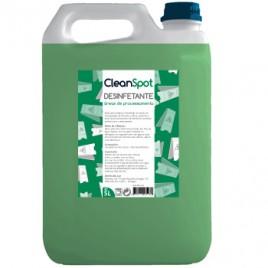Detergente desinfetante (areas de processamento) Cleanspot (5 Litros). É um desinfetante de secagem rápida, recomendado para a Industria Alimentar e Restauração em áreas de processamento e manipulação de alimentos, mesas, bancadas, tabuleiros etc.