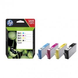 Tinteiro (N9J74AE) Nº364XL Preto Cian Magenta e Amarelo Pack com Tintas Vivera Photosmart 5515/C5380/C6380/C6324/C6340/C6350/C6383 D5460/D5463/D5468/B8550/B8553/B8558/C309/C410/3070A/ OfficeJet 4622