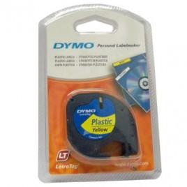 Fita Plastico Dymo Letratag 12mmx4m Preto/Amarelo (91202)