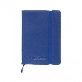 Bloco Notas Quad, A6 Capa Semi Pele Azul 120Folhas