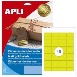 Etiquetas 45,7×21,2mm Apli  Dourado 20 Folhas A4 960un