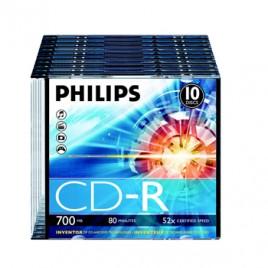 CD-R Philips 700Mb 52x 80min Slim Pack 10