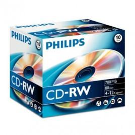 CD-RW Philips 700Mb 4x12x 80min Jewell Case Pack10
