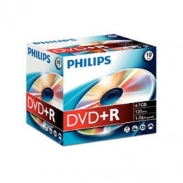 DVD+R Philips 4,7GB 16X Jewell Case 10
