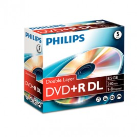 DVD+R Dual Layer Philips 8,5GB 8X Jewell Case 5