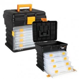 Caixa de ferramentas 14 pol, c/4 cxs de organização